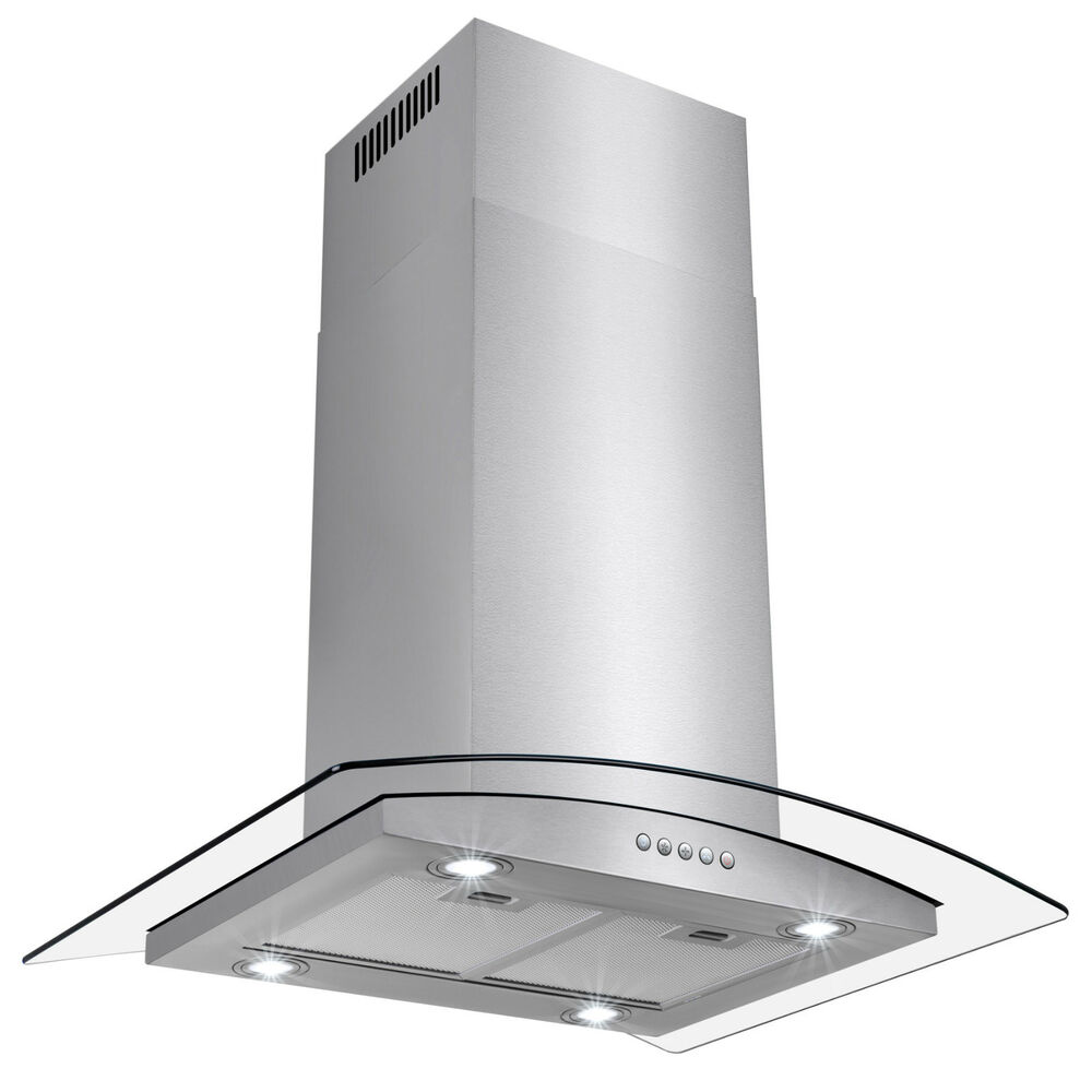 "36"" Glass Island Mount Canapy Stainless Steel Range Hood"