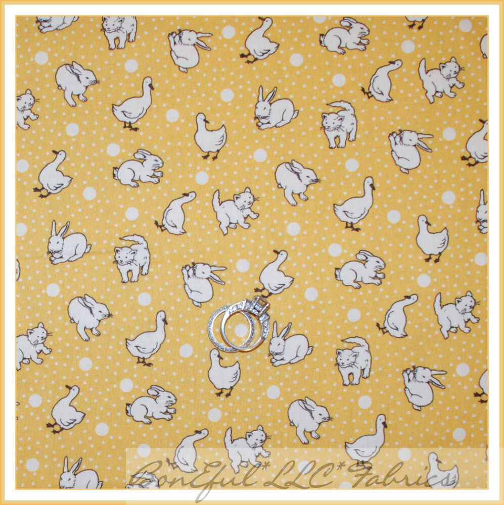 Boneful fabric fq cotton quilt yellow white dot baby for Yellow nursery fabric