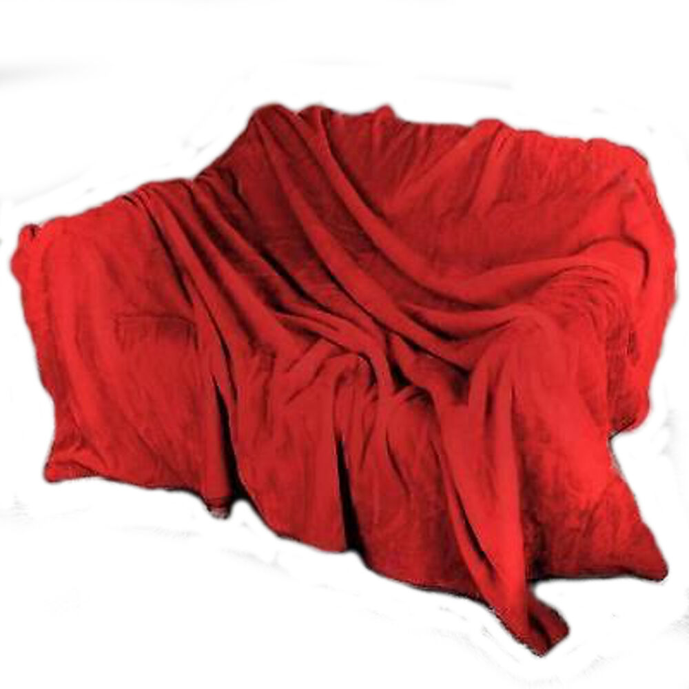 Fur Faux Throw Mink Red Throws Sofa Blanket Bed Size
