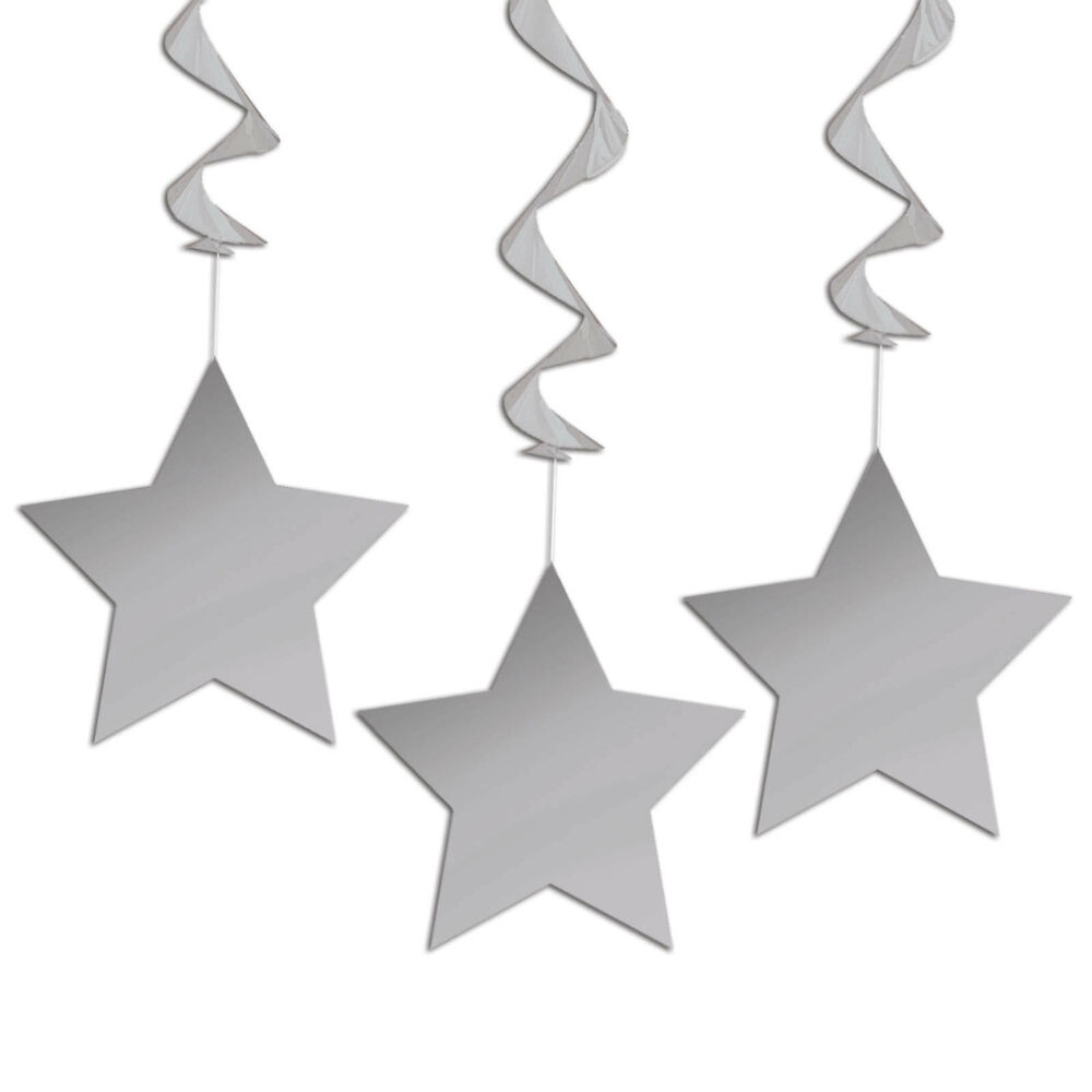Shimmering silver star party birthday hanging