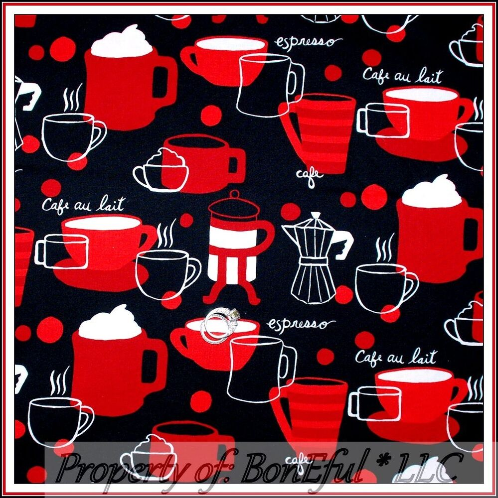Coffee Espresso Latte Cafe Ivory Brown Kitchen Curtains: BonEful FABRIC FQ Cotton Quilt Black Red White B&W Coffee Cocoa Cafe Mug Cup Dot
