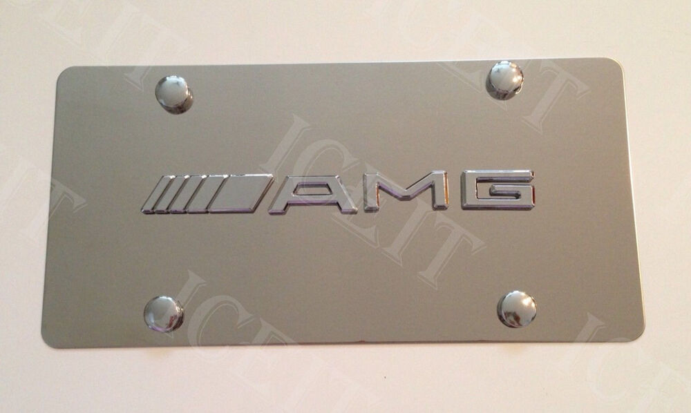 Mercedes benz amg front mirror stainless steel 1mm license for Mercedes benz tag screws