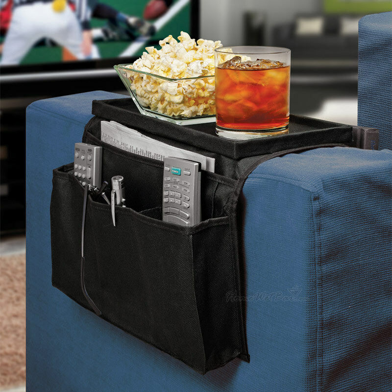 Couch arm rest table organizer tray sofa pockets remote