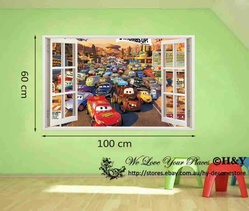 Disney pixar cars mcqueen mater 3d window kids removable for Disney cars large wall mural