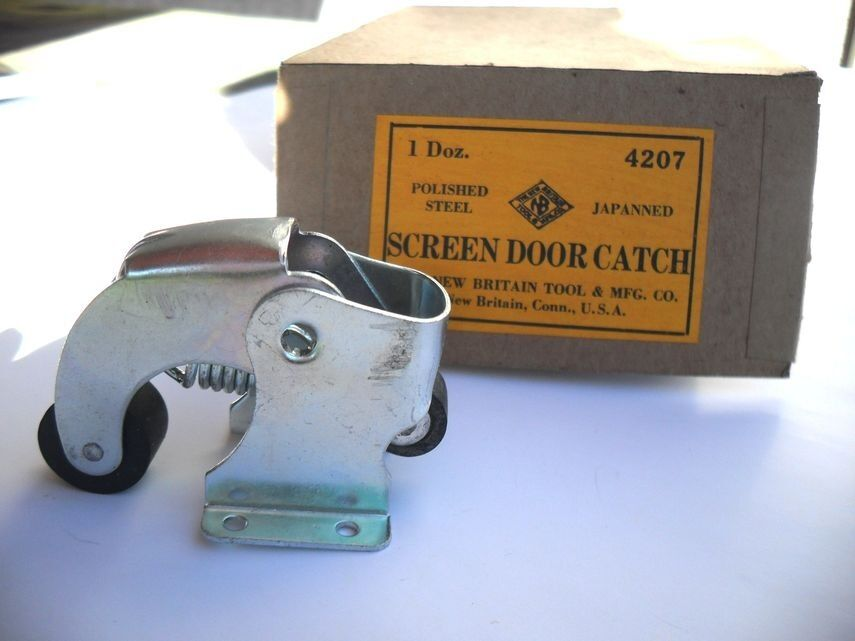 Vtg Nos Storm Screen Door Holder Catch Latch Zinc Plated