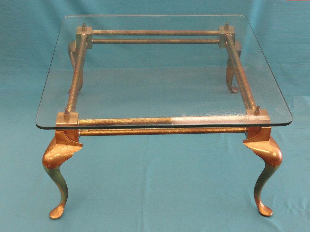 Vintage 50s English Brass Cocktail Coffee Table W Glass Top Ebay