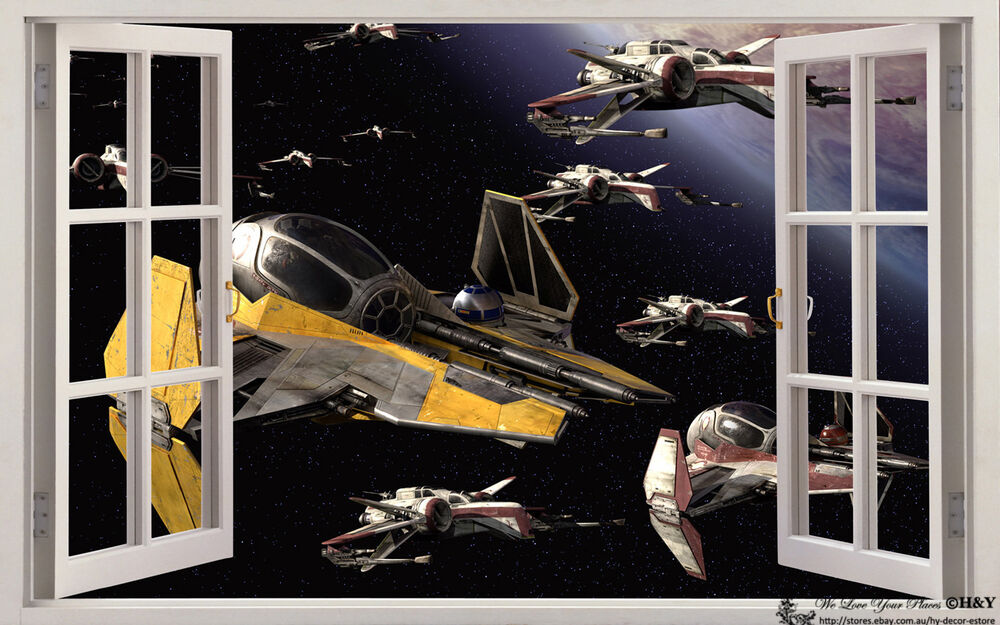 Star Wars Spacecrafts 3D Window View Wall Stickers Art