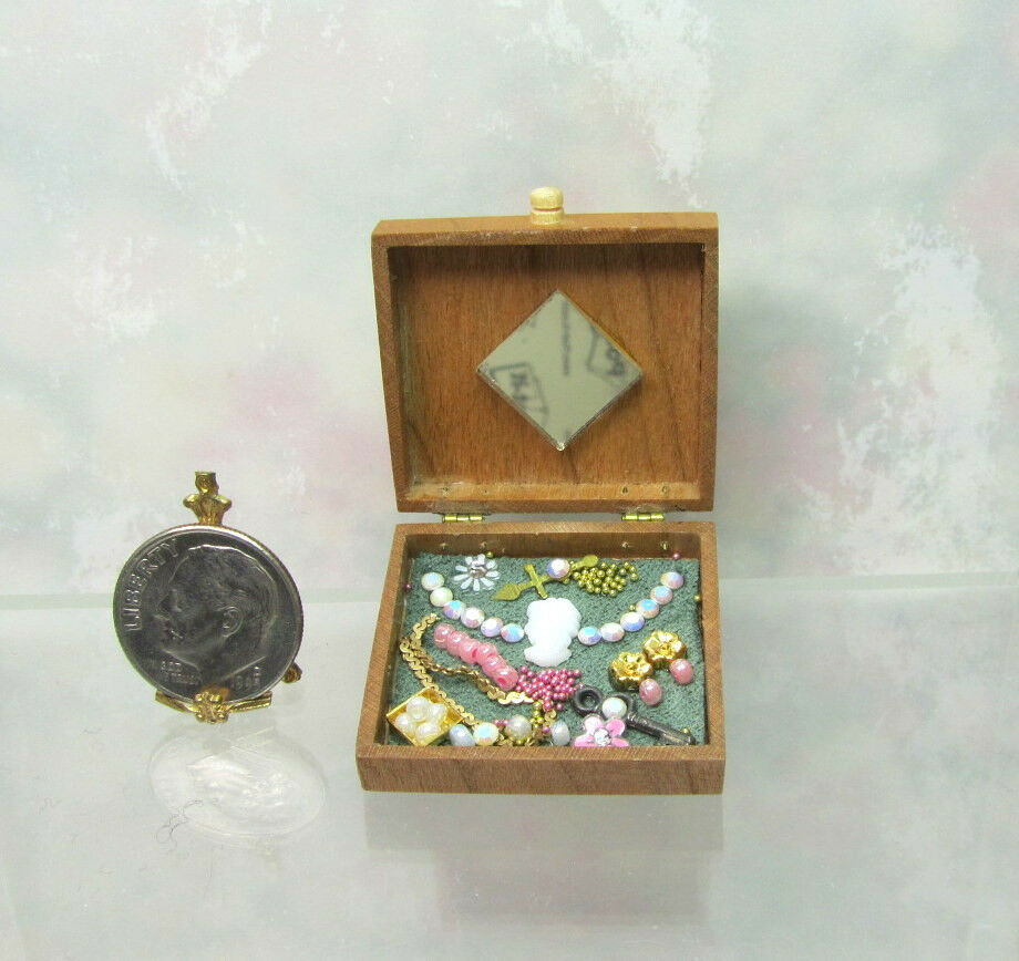 Dollhouse Miniature Filled Handcrafted Wood Jewelry Box #2