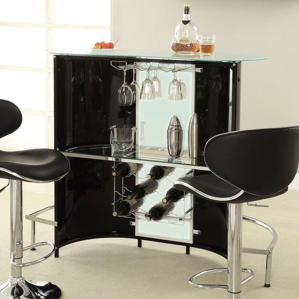 modern black white frosted glass top bar pub table unit