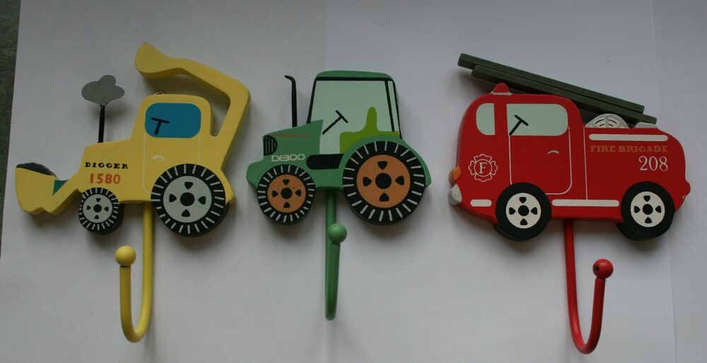 Childrens kids bedroom hooks fire engine digger tractor for Kids room hooks