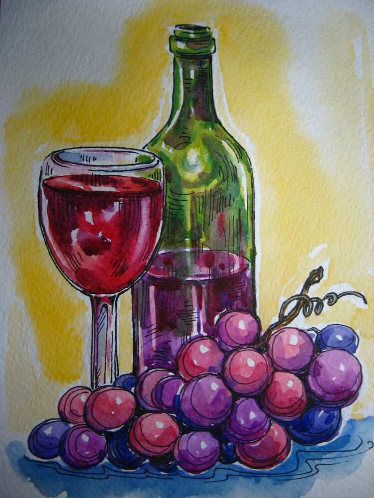 Watercolor painting grapes wine bottle juice glass still for Painting and wine