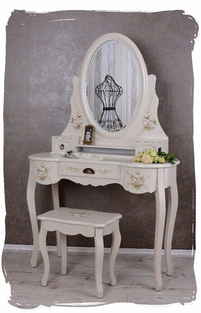 frisiertisch frisierkommode boudoir schminktisch mit hocker shabby chic rosen ebay. Black Bedroom Furniture Sets. Home Design Ideas