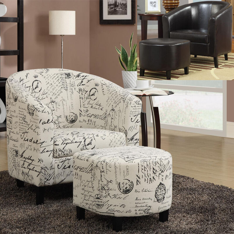 Comfortable 2 Pc French Script Fabric Leatherette Vinyl