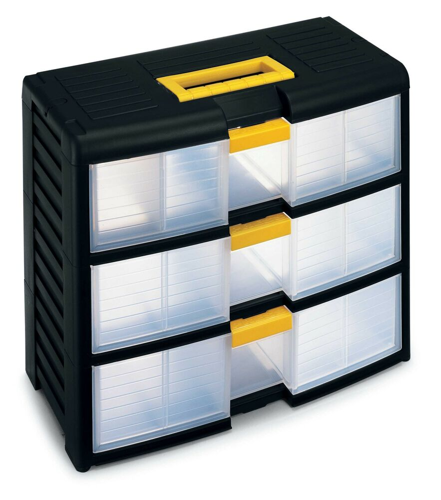 Small parts plastic drawer cabinet van garage craft for Craft storage boxes plastic