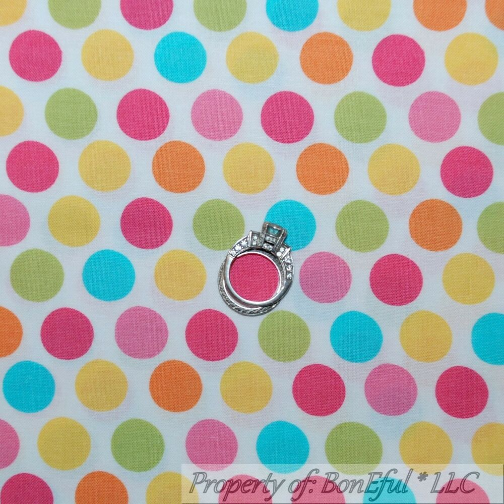 Boneful fabric fq cotton quilt white polka dot baby pink for Yellow baby fabric
