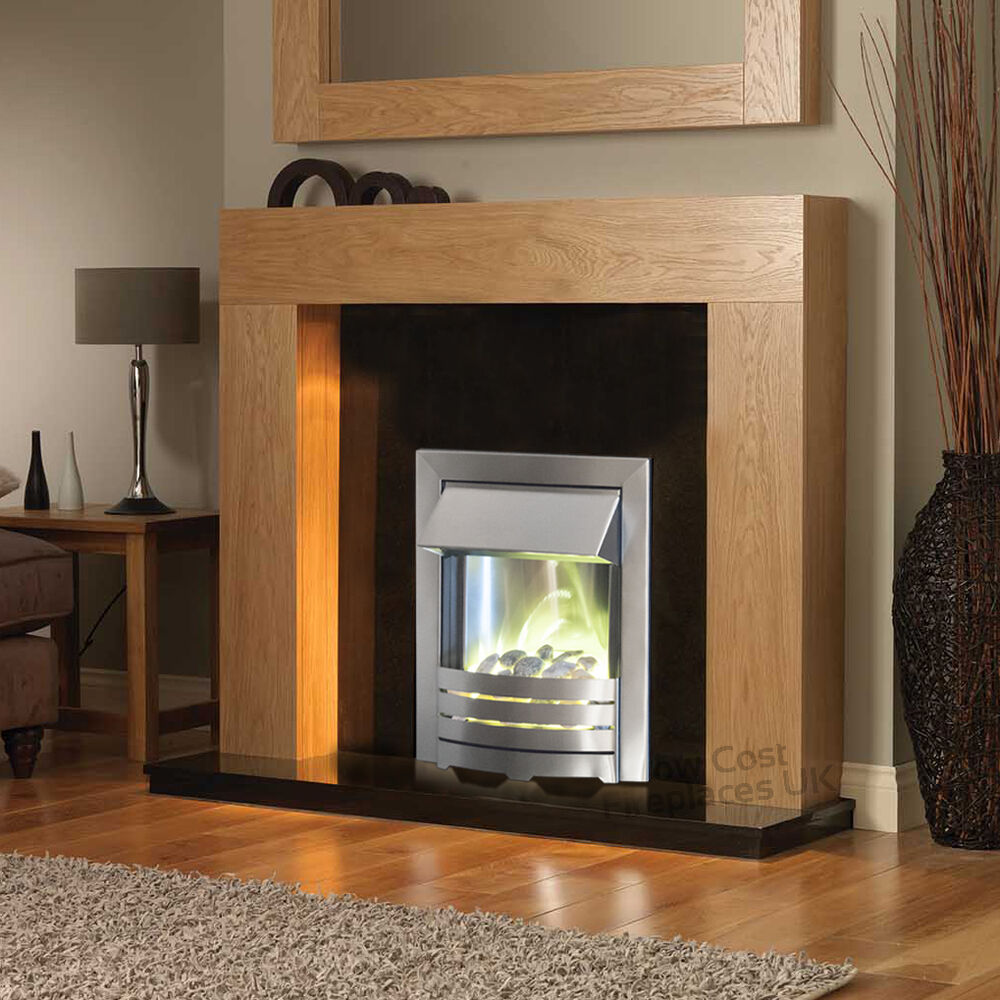 Electric Solid Oak Wood Surround Black Stone Wall Fire Large Fireplace Suite 54 Ebay