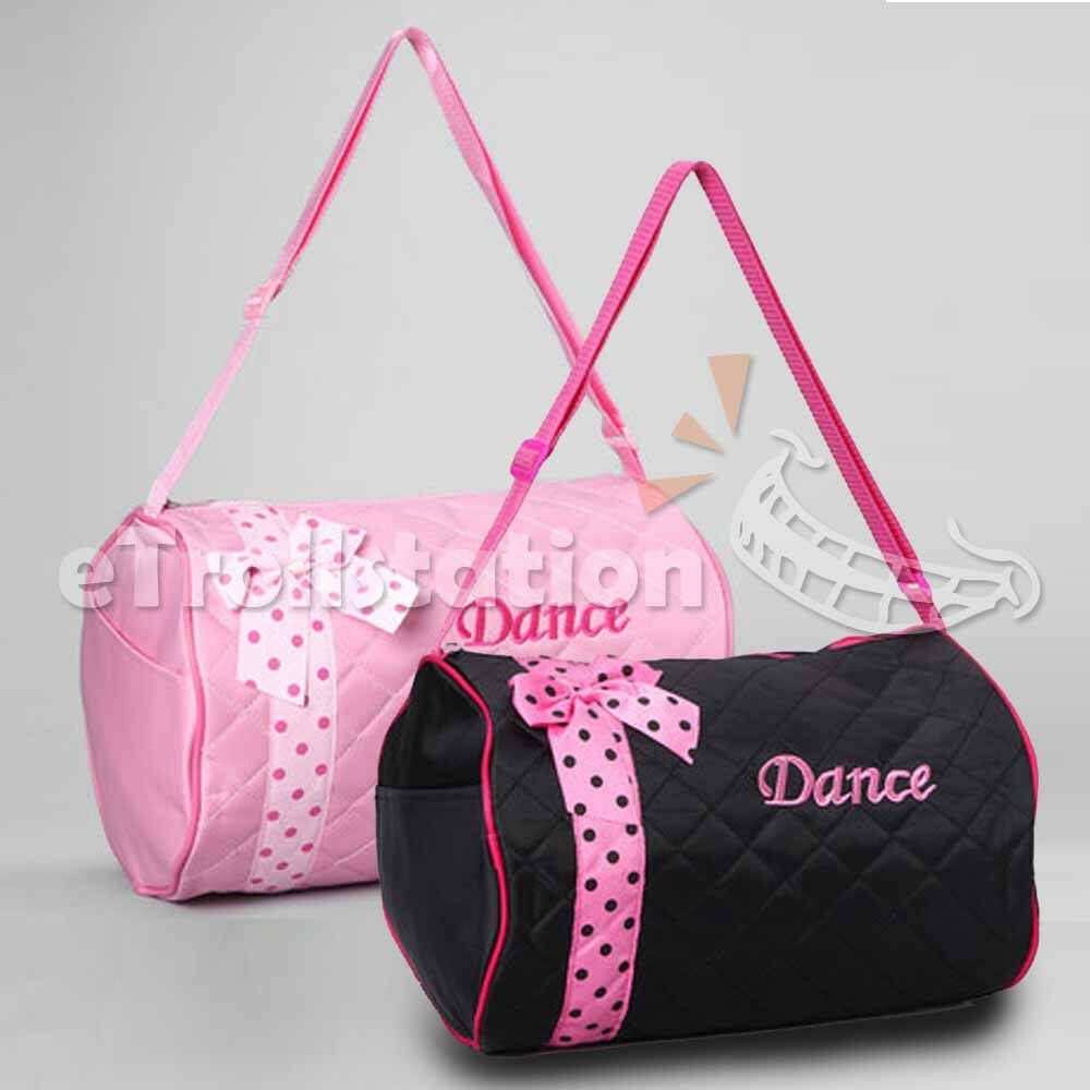 Girls Dance Duffle Bag Kids Quilted Ribbon Polka Dots ...