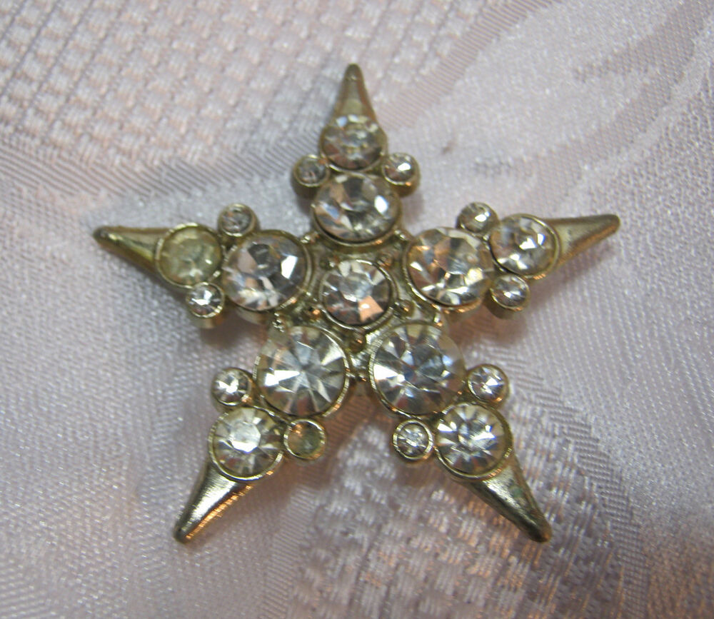Rhinestone Star Brooch Vintage Costume Jewelry Art Deco