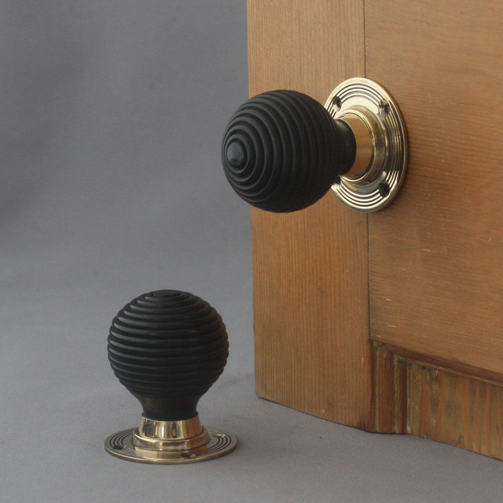 Anvil 83574 Ebony Antique Brass Beehive Door Knobs: Beehive Door Knobs