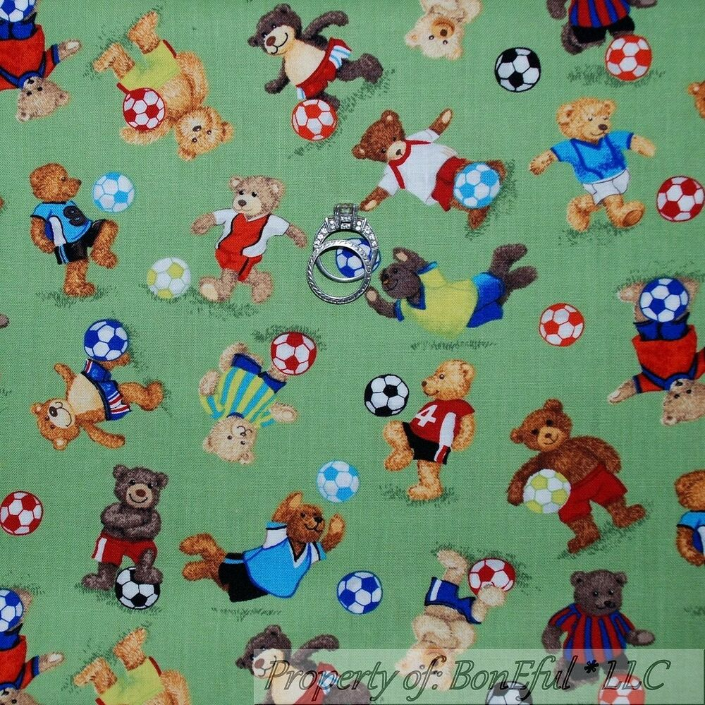 Boneful fabric fq cotton quilt baby boy bear soccer for Boy quilt fabric