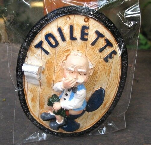 Handmade ceramic funny old man restroom toilet sign wall for Funny home decor