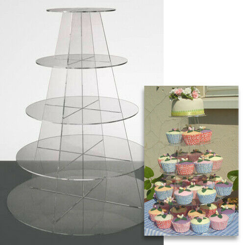 Cupcake Stand 5 Tier Round Clear Acrylic Display Tower