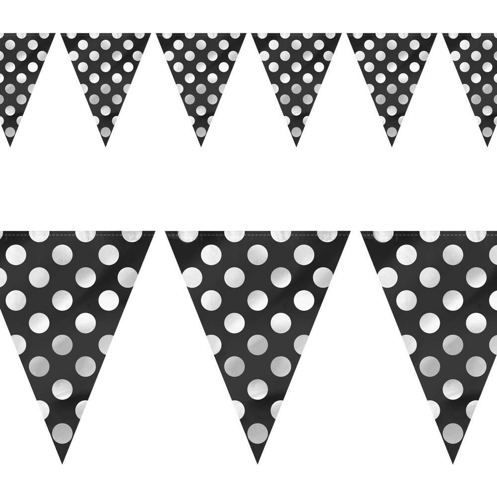 12ft black white polka dot spot style party pennant banner for Black and white polka dot decorations
