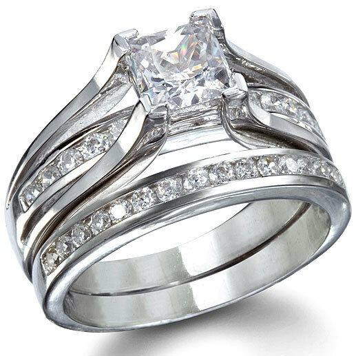 925 sterling silver princess cz wedding engagement promise 2 ring set