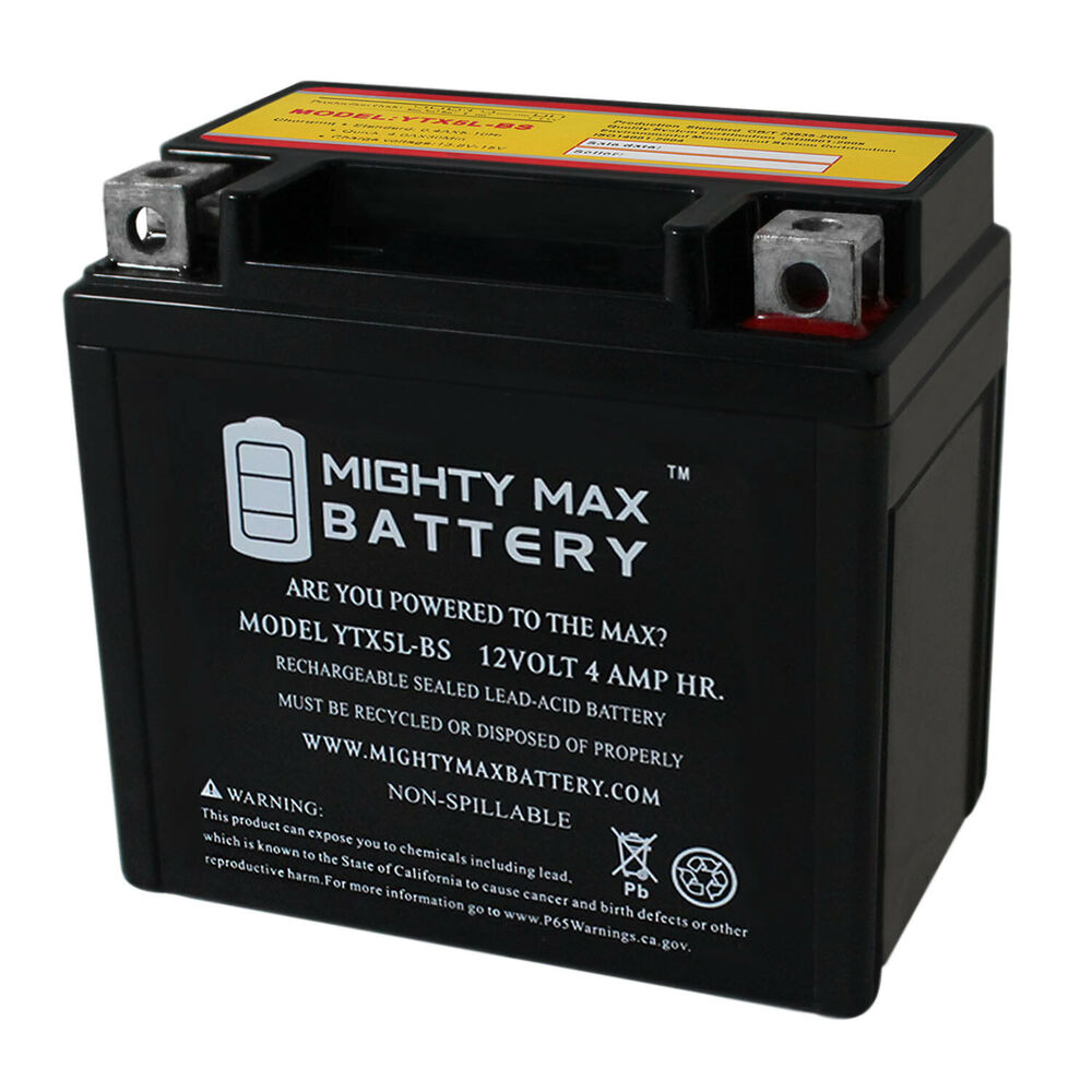 mighty max ytx5l bs replacement for 50cc 90cc atv scooter 12v battery ebay. Black Bedroom Furniture Sets. Home Design Ideas