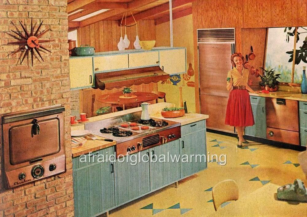 Print 1950s 60s housewife in kitchen ebay for 50 s style kitchen designs