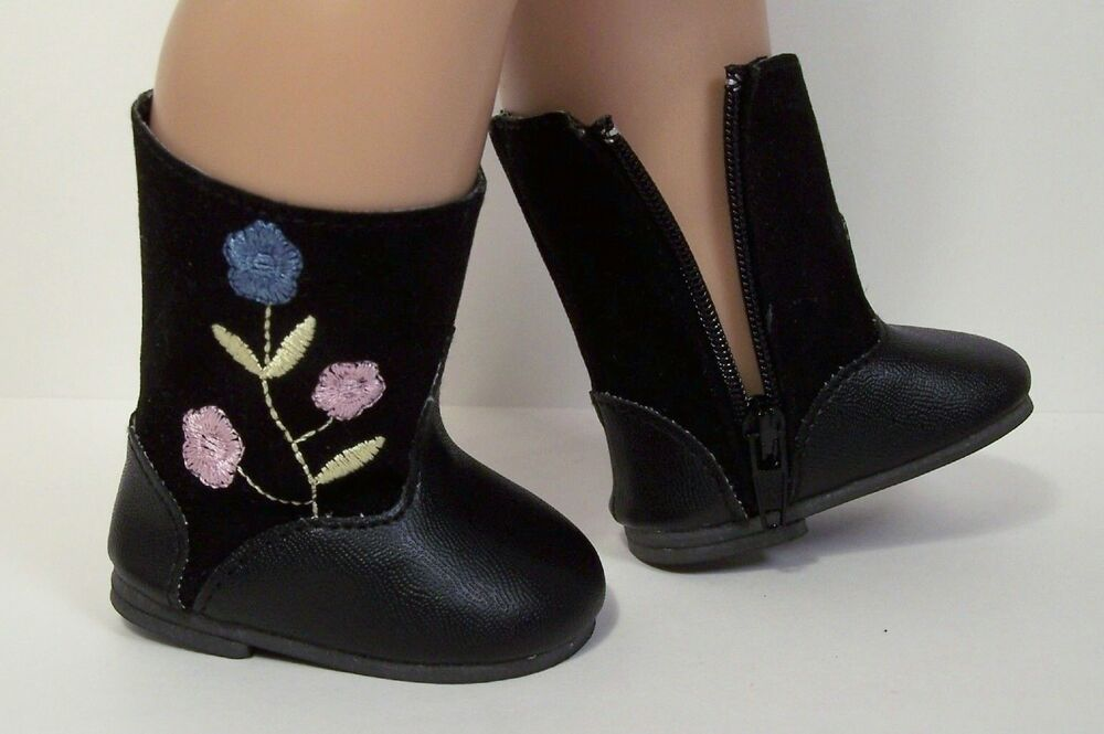 Black Boots Embroidered Pink Blue Flowers Doll Shoes For