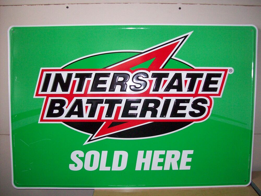 Nice condition lightweight sign from actual INTERSTATE BATTERY vendor. Slightly faded from being in out in the Sun and weather over the years.