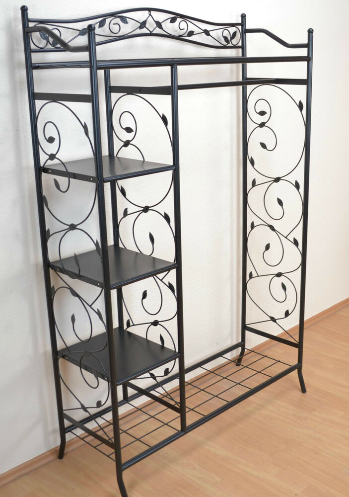 standgarderobe aus metall schwarz garderobenst nder garderobe kleiderst nder ebay. Black Bedroom Furniture Sets. Home Design Ideas