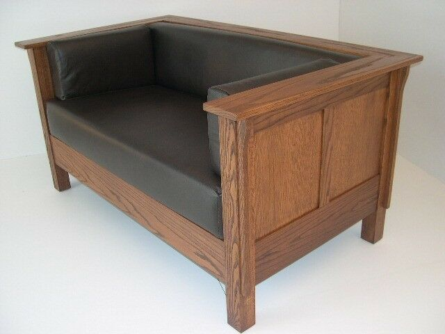 Mission Arts And Crafts Stickley Style Prairie Panel Settle Leather Loveseat Ebay