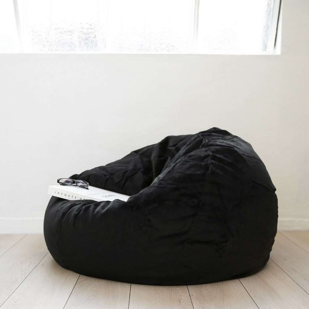 Large Black Velvet Fur Beanbag Cover Soft Cloud Chair Bean