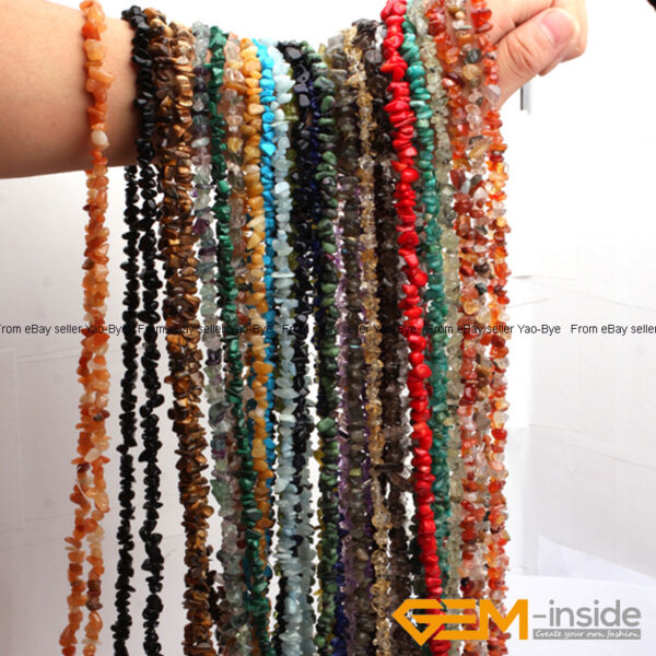 Natural 7-8mm Freeform Gemstone Chips Beads For Jewelry Making Strand 34