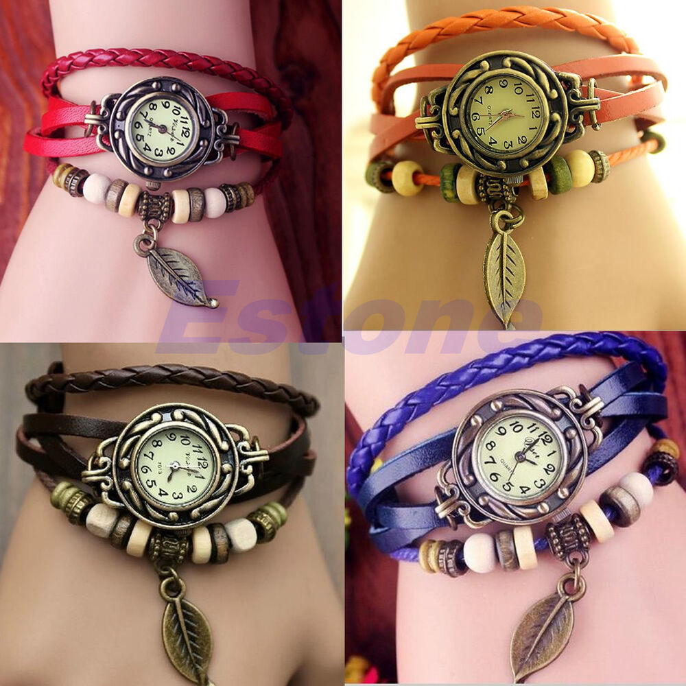women new design retro leather bracelet leaf decoration quartz wrist watch ebay