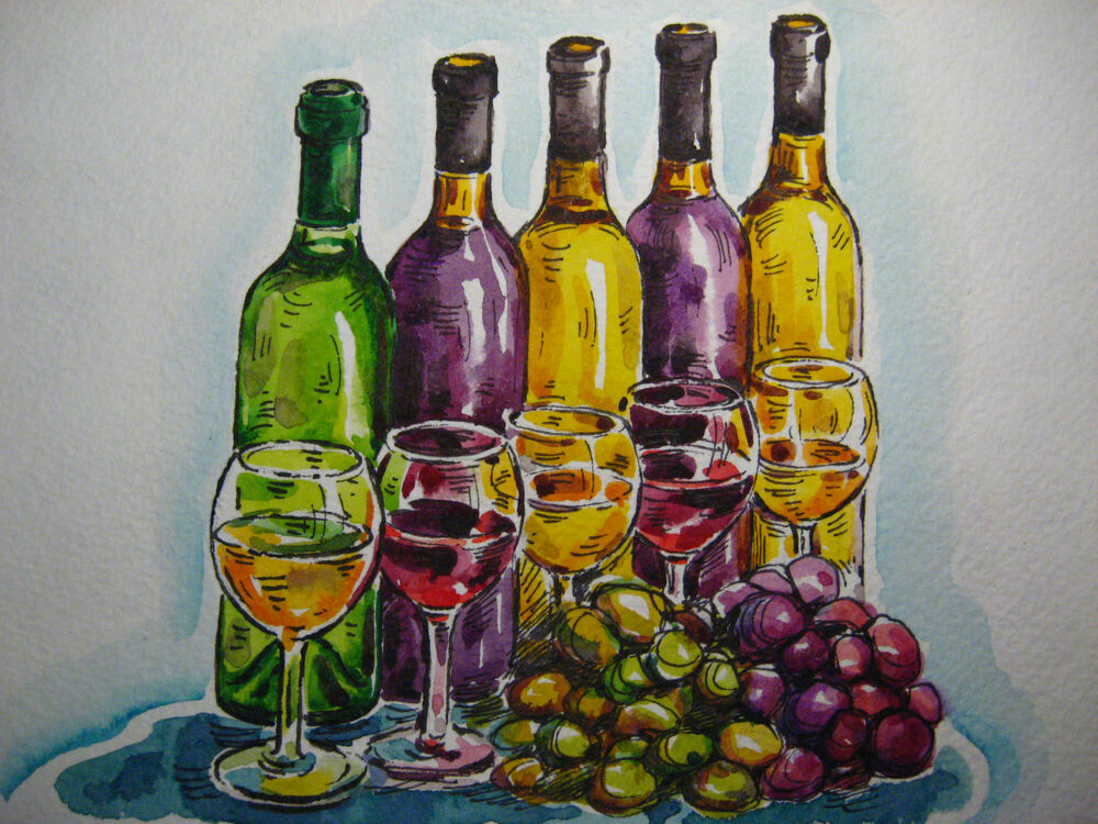 grapes wine bottle green juice glass alcohol drink still life collectible art ebay. Black Bedroom Furniture Sets. Home Design Ideas