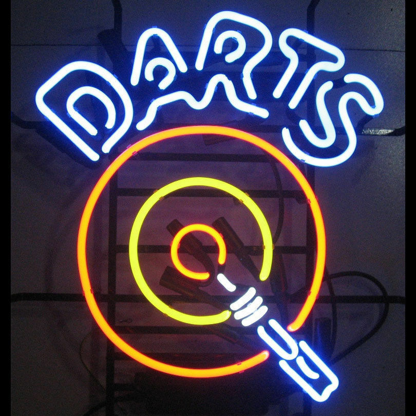 Darts dartboard neon sign game room man cave wall art for Room decor neon signs