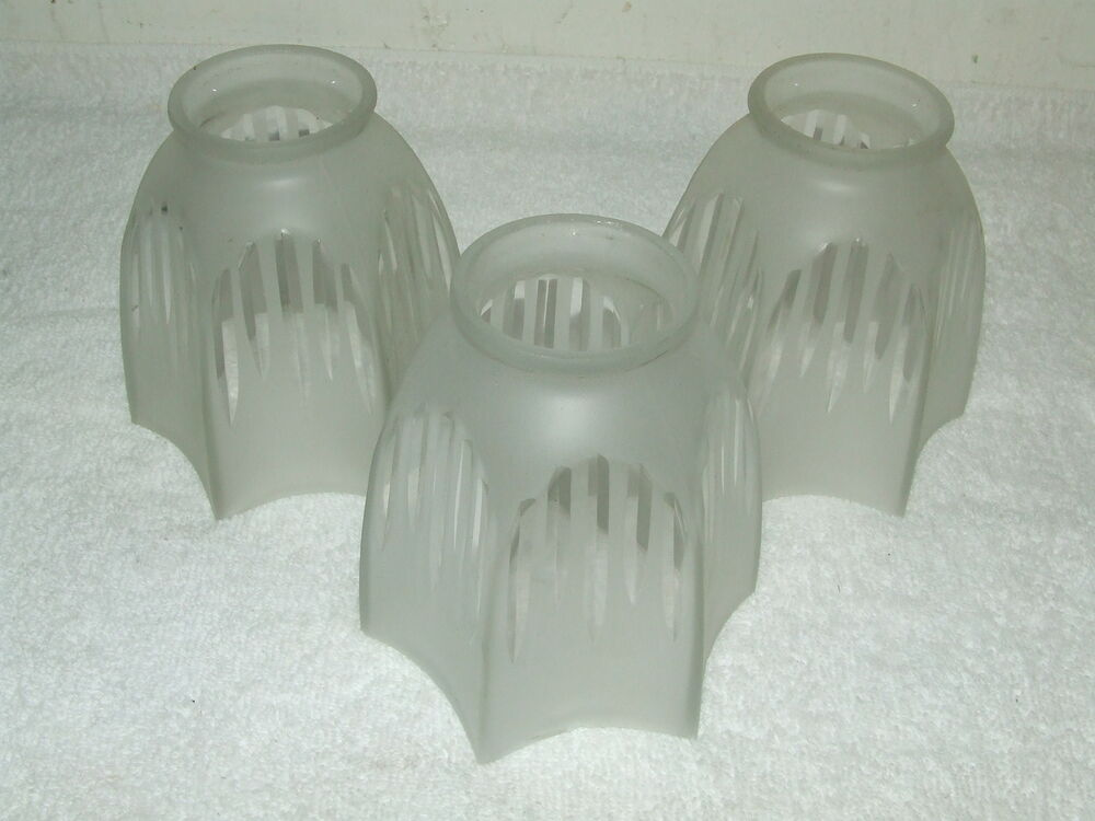 Antique Lot Of 3 Art Deco Frosted 6 Sided Glass Pendant