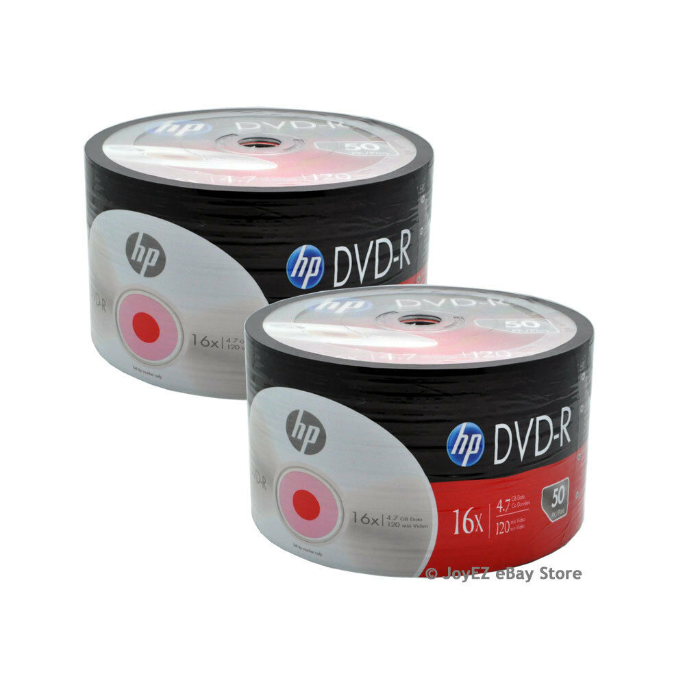 Details about   100 Pack HP Brand Logo Blank 16x DVD-R DVDR Recordable Disc Media Shrink Wrap