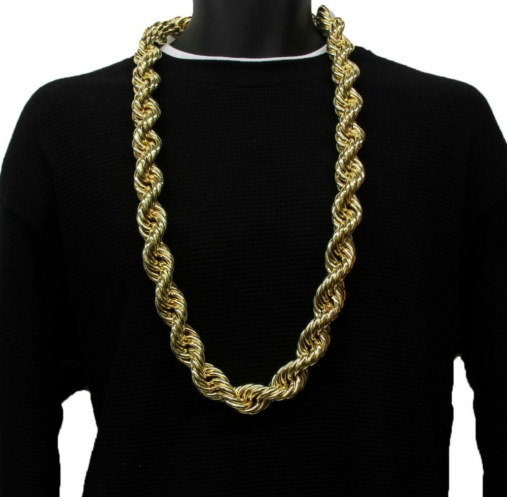 14k gold plated necklace rope chain 36 quot inch length big
