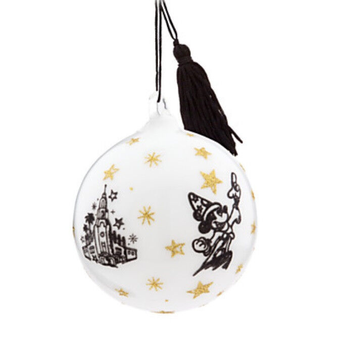 Glass Ball Ornaments Decorate: Disneyland Sorcerer Mickey Mouse White Glass Ball Hanging