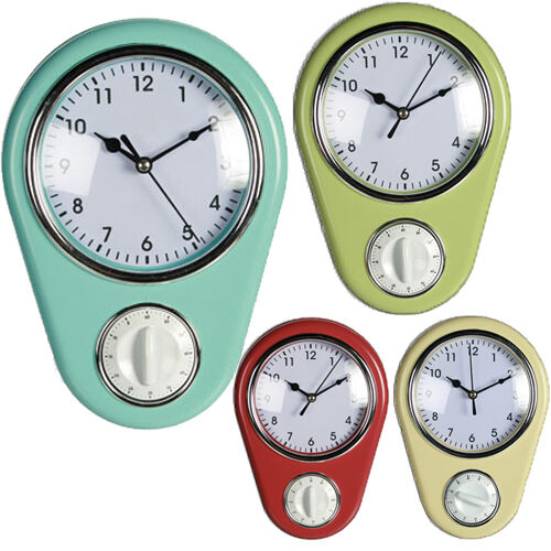 KITCHEN WALL CLOCK WITH TIMER HOME OFFICE RETRO COOKING