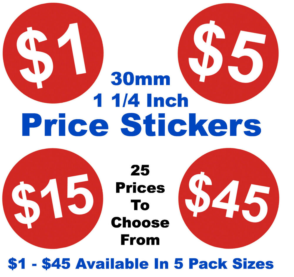 1 1/4 Inch 30mm Red Dollar Price Point Stickers Sticky