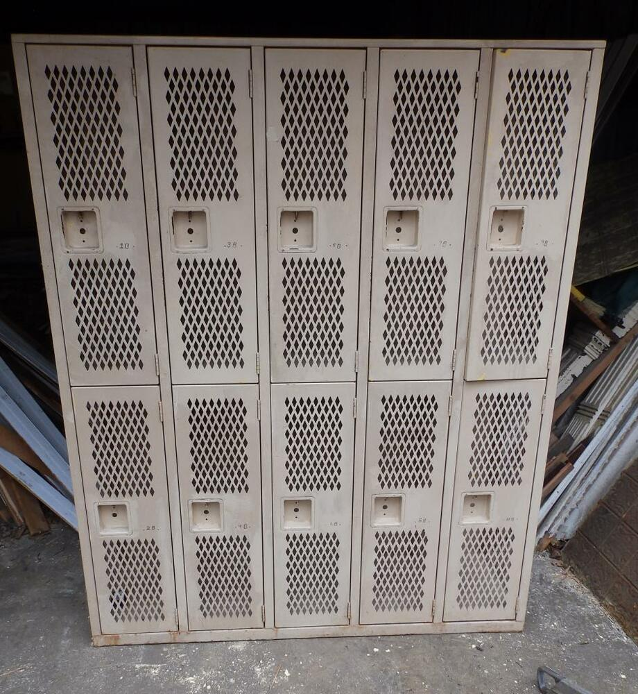 Vintage Industrial Metal Doors : Vintage industrial steel gym locker unit pool steampunk
