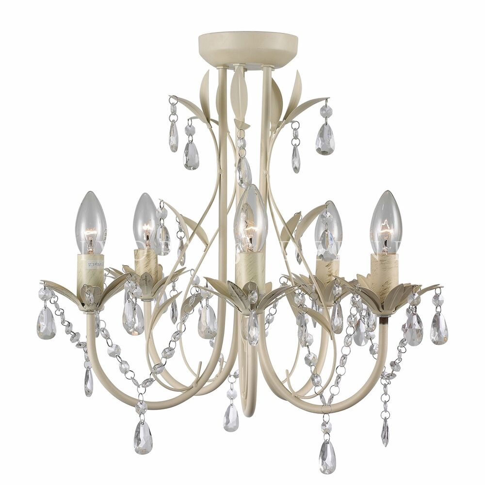 Glass Crystal Chandelier Pendant 5 Light Chic French