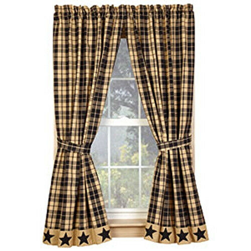 Primitive Country Farmhouse Black Tan Plaid Star Curtain
