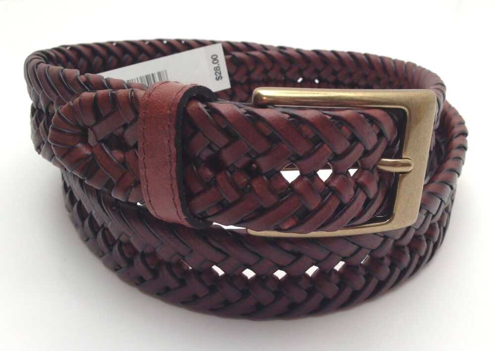 dockers s belt brown braided leather w gold tone