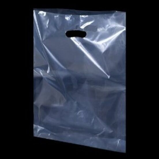 Clear Plastic Handle Polythene Shopping Carrier Bags All